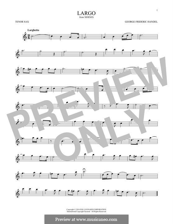 Largo: para saxofone tenor by Georg Friedrich Händel