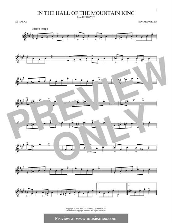 Suite No.1. In the Hall of the Mountain King (Printable Scores), Op.46 No.4: para Saxofone Alto by Edvard Grieg