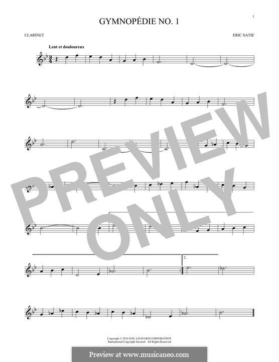 No.1: para clarinete by Erik Satie