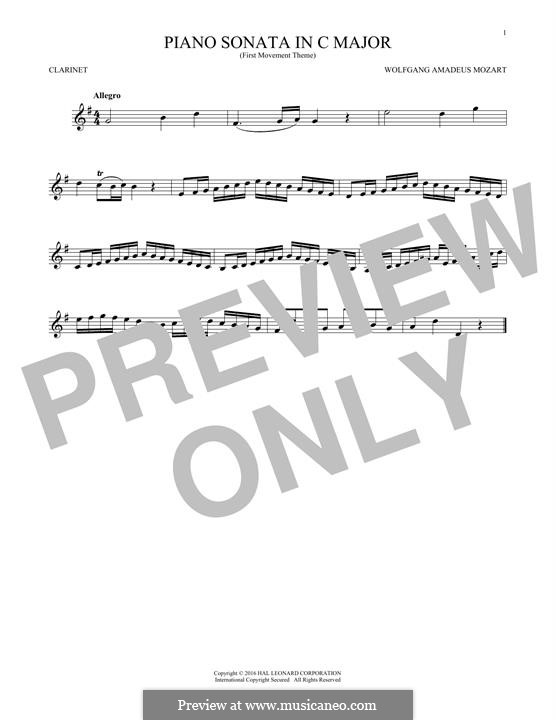 Sonata for Piano No.16 in C Major, K.545: Movement I (Theme), for clarinet by Wolfgang Amadeus Mozart