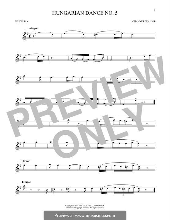 Dance No.5 in F Sharp Minor (Printable scores): para saxofone tenor by Johannes Brahms