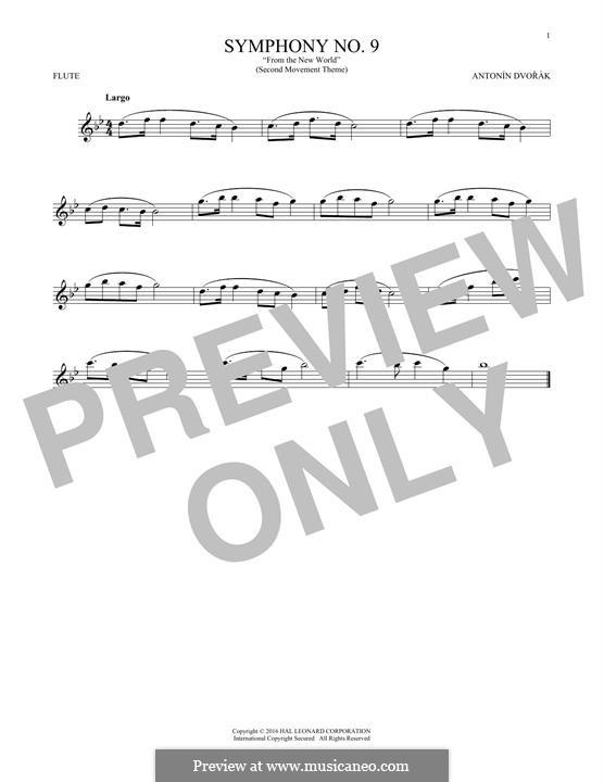 Movement II (Largo) Printable Scores: Theme, for flute by Antonín Dvořák