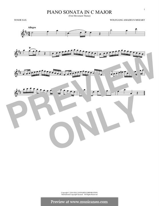 Sonata for Piano No.16 in C Major, K.545: Movement I (Theme), for tenor saxophone by Wolfgang Amadeus Mozart