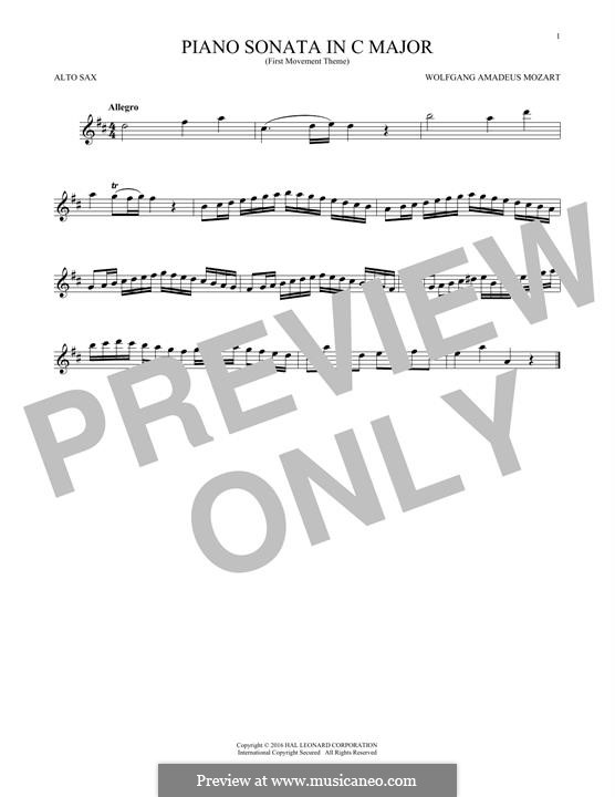 Sonata for Piano No.16 in C Major, K.545: Movement I (Theme), for alto saxophone by Wolfgang Amadeus Mozart