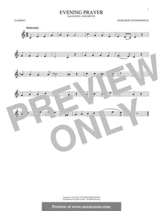 Evening Prayer: para clarinete by Engelbert Humperdinck