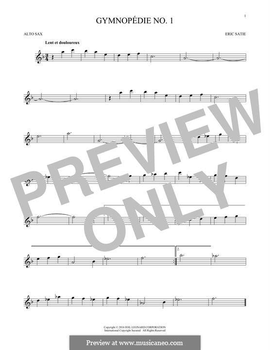 No.1: para Saxofone Alto by Erik Satie