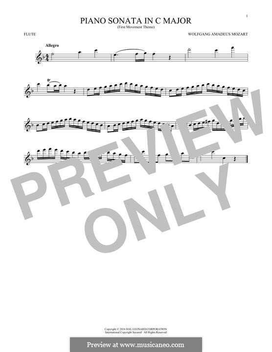 Sonata for Piano No.16 in C Major, K.545: Movement I (Theme), for flute by Wolfgang Amadeus Mozart