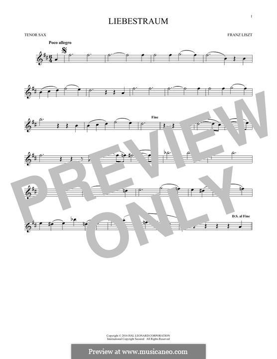Nocturne No.3: Theme, for tenor saxophone by Franz Liszt