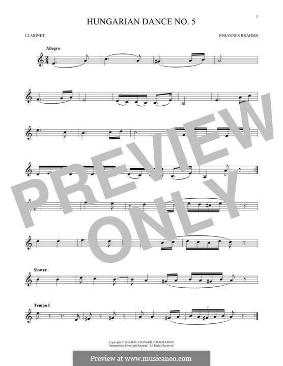 Dance No.5 in F Sharp Minor (Printable scores): para clarinete by Johannes Brahms