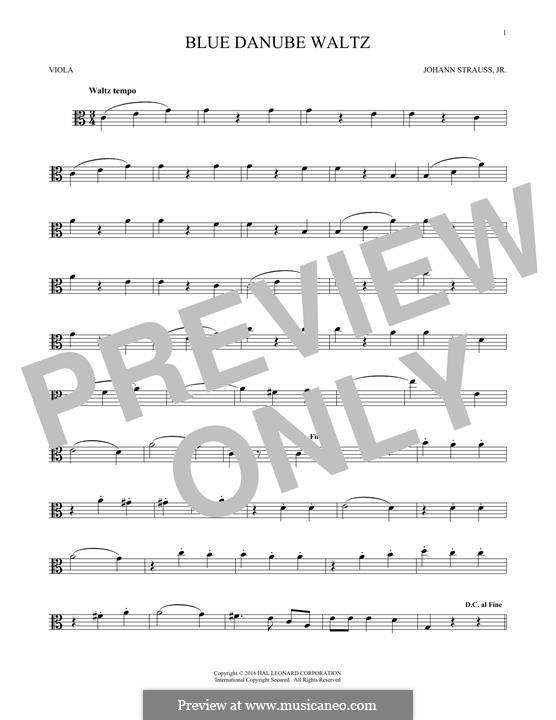 On the Beautiful Blue Danube, Op.314: para viola by Johann Strauss (Sohn)