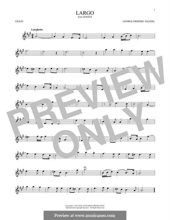 Largo: para violino by Georg Friedrich Händel