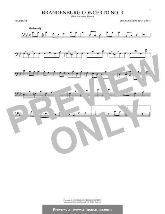Brandenburg Concerto No.3 in G Major, BWV 1048: Movement I (Theme). Version for trombone by Johann Sebastian Bach