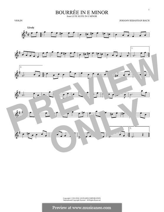 Suite for Lute (or Harpsichord) in E Minor, BWV 996: Bourrée. Version for violin by Johann Sebastian Bach