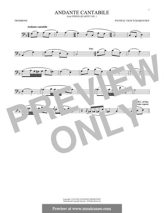 Movement II: Arrangement for trombone (fragment) by Pyotr Tchaikovsky