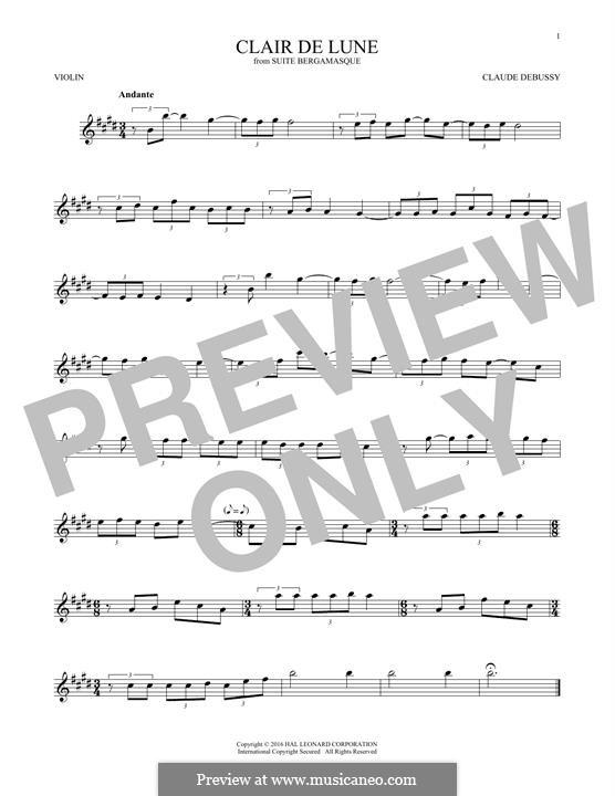 No.3 Clair de lune: para violino by Claude Debussy