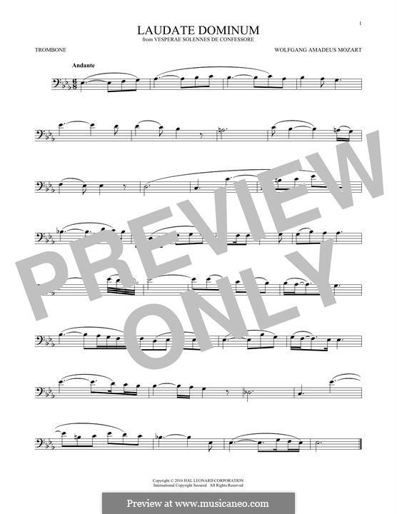 Vesperae solennes de confessore, K.339: Laudate Dominum, for trombone by Wolfgang Amadeus Mozart