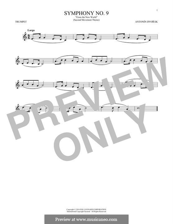 Movement II (Largo) Printable Scores: Theme, for trumpet by Antonín Dvořák