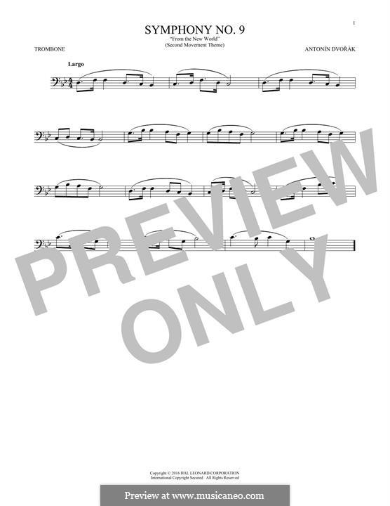 Movement II (Largo) Printable Scores: Theme, for trombone by Antonín Dvořák