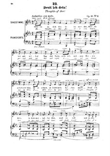 Six Songs, Op.20: No.2 Denk' ich dein (Thoughts of thee) by Robert Franz