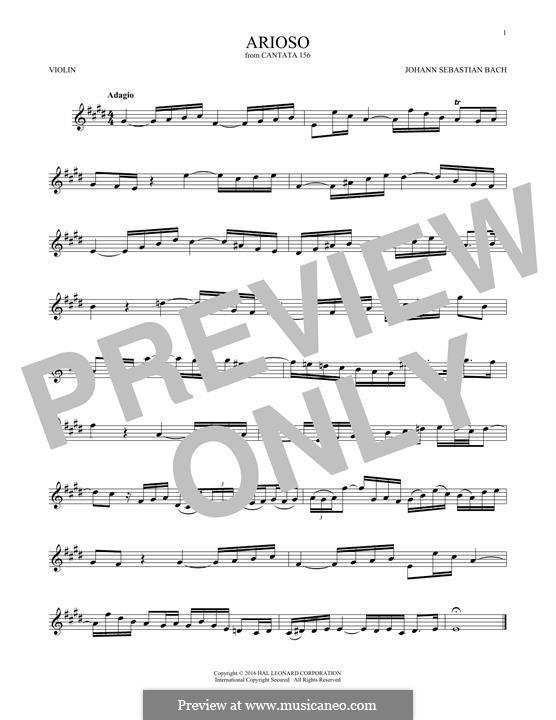 Arioso in G Major: para violino by Johann Sebastian Bach