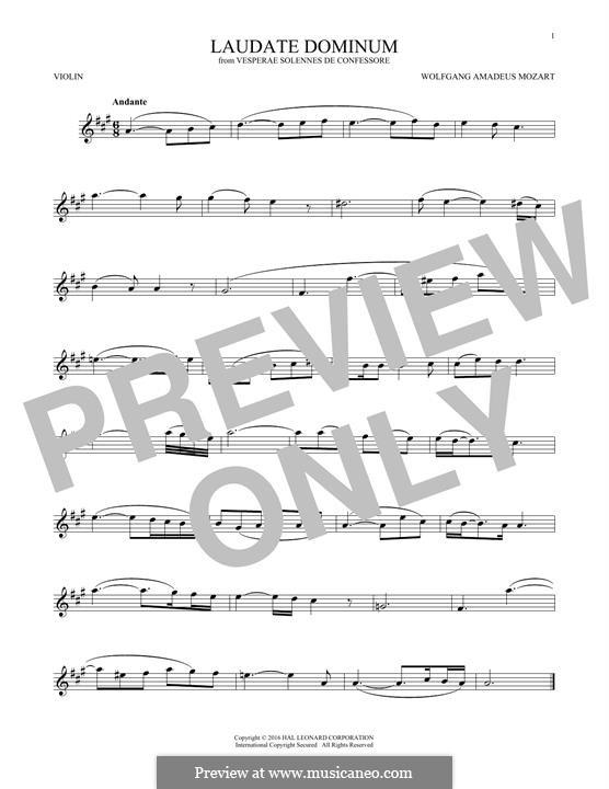 Vesperae solennes de confessore, K.339: Laudate Dominum, for violin by Wolfgang Amadeus Mozart