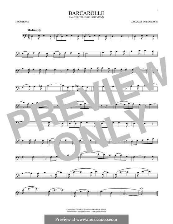 Barcarolle (Printable Scores): Version for trombone by Jacques Offenbach