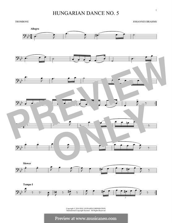 Dance No.5 in F Sharp Minor (Printable scores): para trombone by Johannes Brahms
