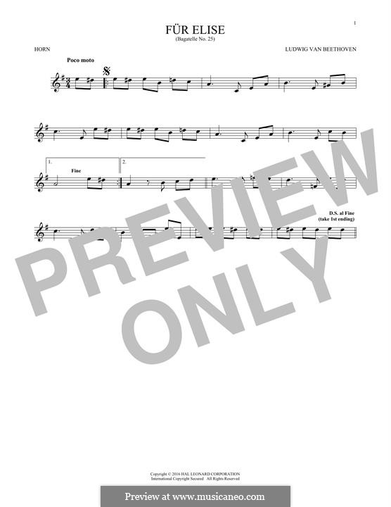 For Elise (Printable Scores): For horn by Ludwig van Beethoven