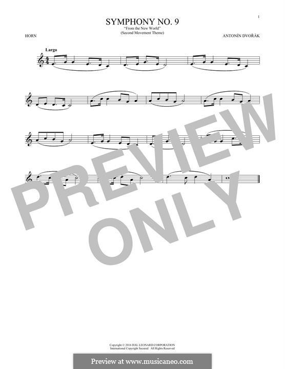Movement II (Largo) Printable Scores: Theme, for horn by Antonín Dvořák