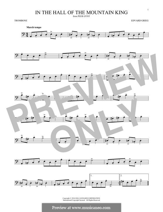 Suite No.1. In the Hall of the Mountain King (Printable Scores), Op.46 No.4: para trombone by Edvard Grieg