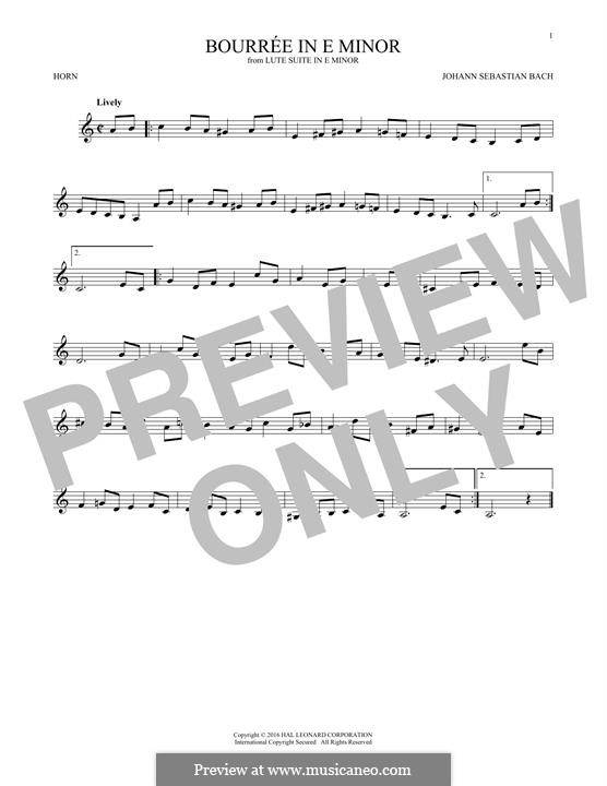 Suite for Lute (or Harpsichord) in E Minor, BWV 996: Bourrée. Version for horn by Johann Sebastian Bach