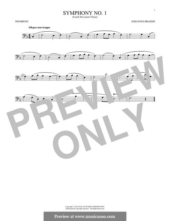 Movement IV: Excerpt. Version for trombone by Johannes Brahms