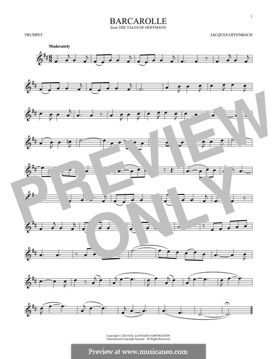 Barcarolle (Printable Scores): Version for trumpet by Jacques Offenbach