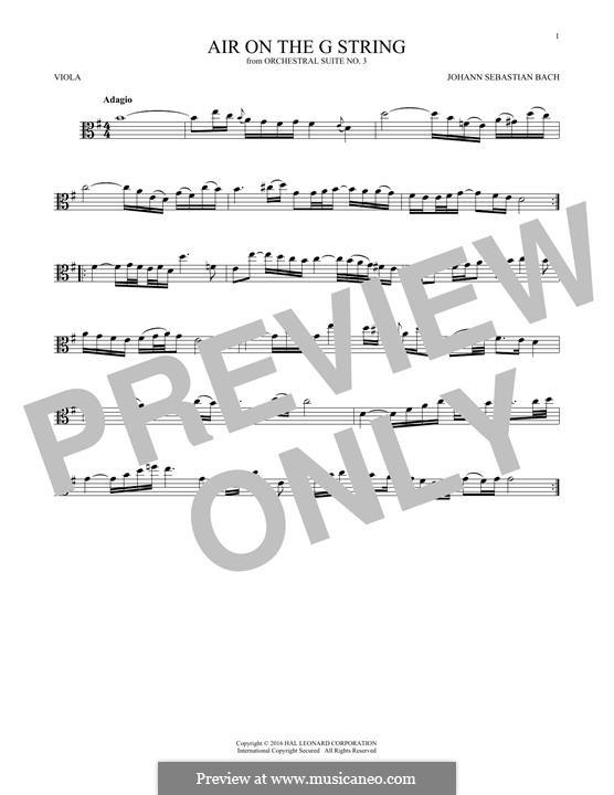 Aria (Printable Scores): Version for viola by Johann Sebastian Bach