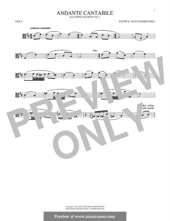 Movement II: Arrangement for viola (fragment) by Pyotr Tchaikovsky