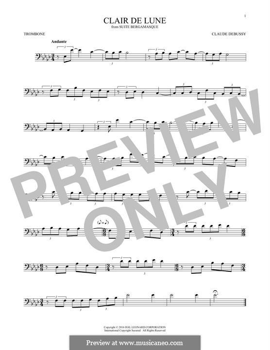 No.3 Clair de lune: para trombone by Claude Debussy