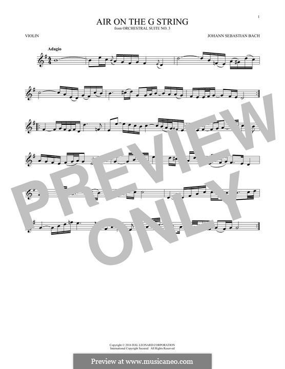 Aria (Printable Scores): Version for violin by Johann Sebastian Bach