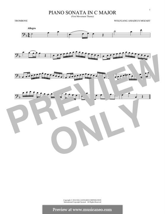 Sonata for Piano No.16 in C Major, K.545: Movement I (Theme), for trombone by Wolfgang Amadeus Mozart