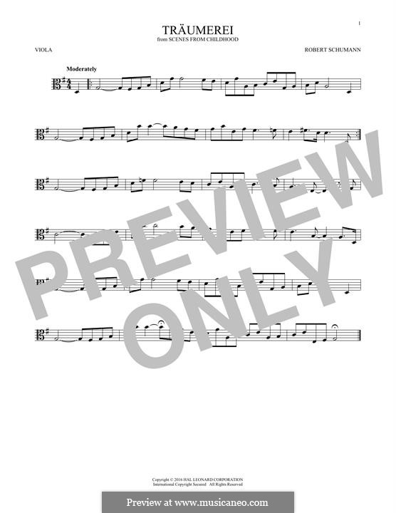 No.7 Träumerei (Dreaming): para viola by Robert Schumann