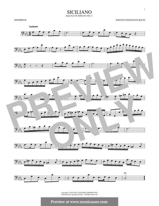 Sonata for Flute and Harpsichord No.2 in E Flat Major, BWV 1031: Siciliano. Arrangement for trombone by Johann Sebastian Bach