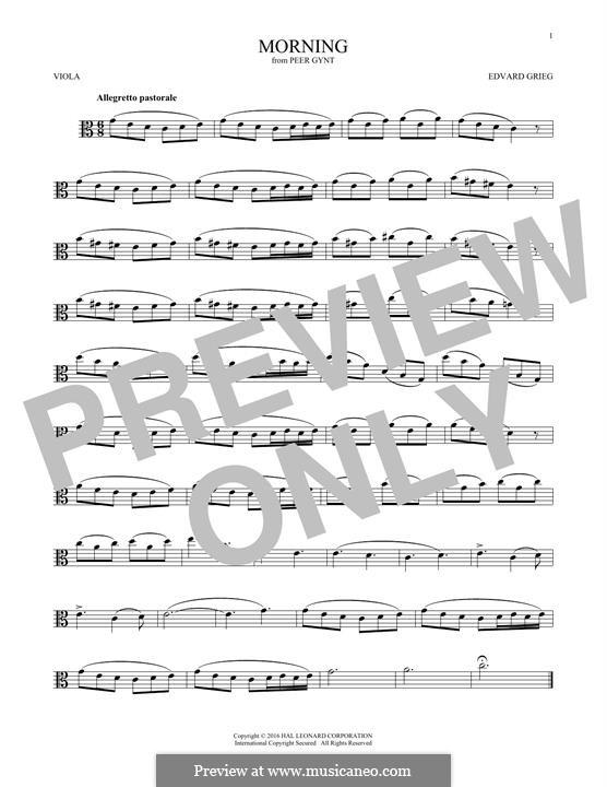 Suite No.1. Morning Mood, Op.46 No.1: para viola by Edvard Grieg