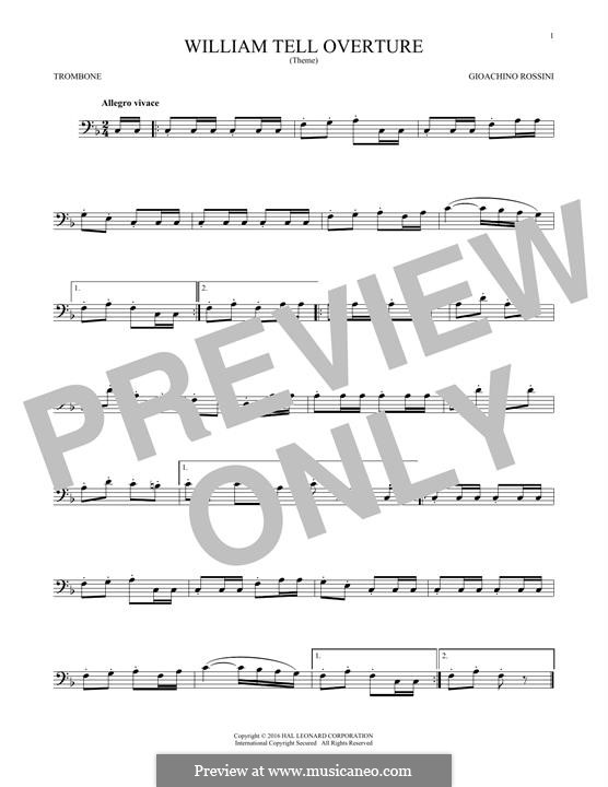 Overture (Printable Scores): para trombone by Gioacchino Rossini