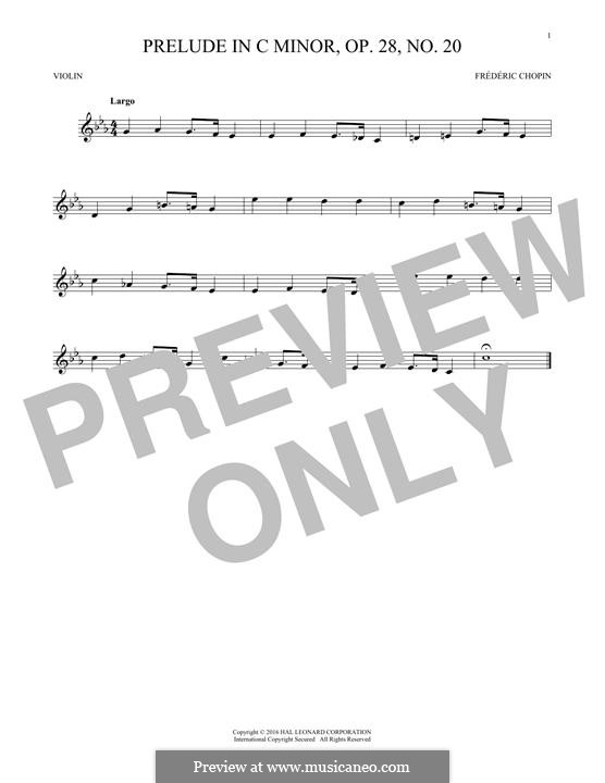 No.20 in C Minor: para violino by Frédéric Chopin