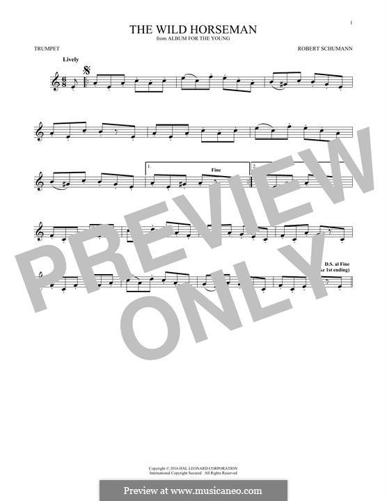 No.8 Wilder Reiter (The Wild Horseman): para trompeta by Robert Schumann