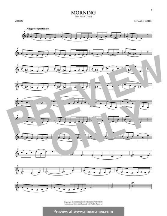 Suite No.1. Morning Mood, Op.46 No.1: para violino by Edvard Grieg