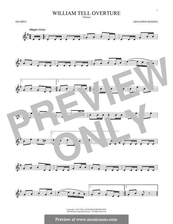 Overture (Printable Scores): para trompeta by Gioacchino Rossini