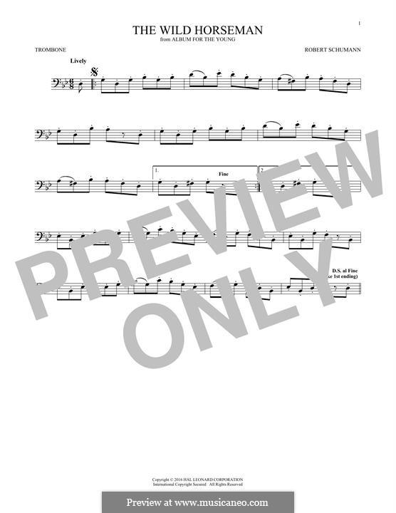 No.8 Wilder Reiter (The Wild Horseman): para trombone by Robert Schumann