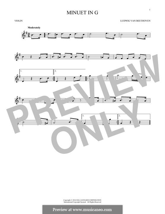 No.4 Minuet in G Major, BWV Anh.114: para violino by Johann Sebastian Bach
