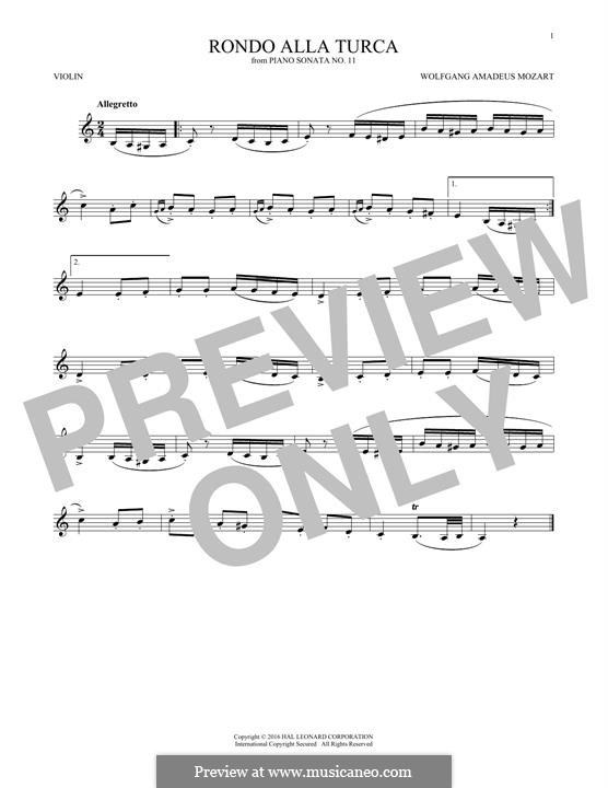 Rondo alla turca: For violin (fragment) by Wolfgang Amadeus Mozart