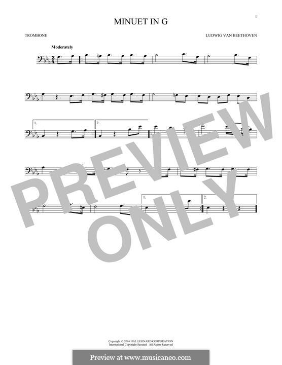 No.4 Minuet in G Major, BWV Anh.114: para trombone by Johann Sebastian Bach